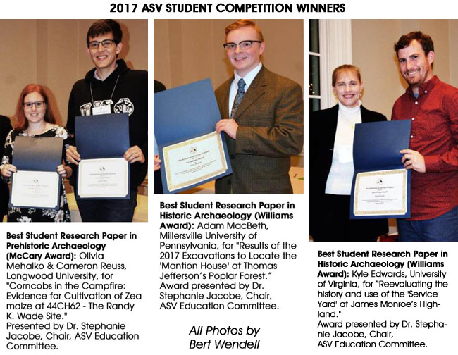 2017 ASV student award winners